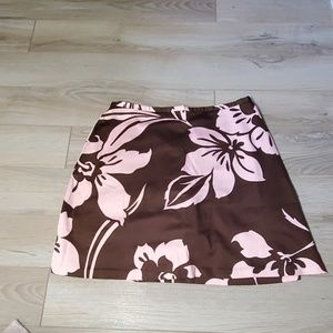 Brown and Pink Floral Skort